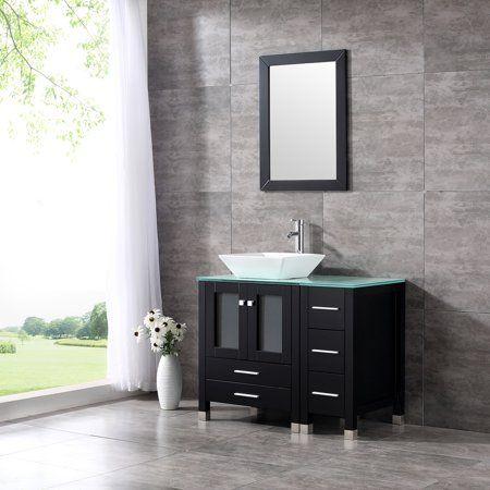 36 Modern Ceramic Vessel Sink Bowl Wood Bathroom Vanity Cabinet W