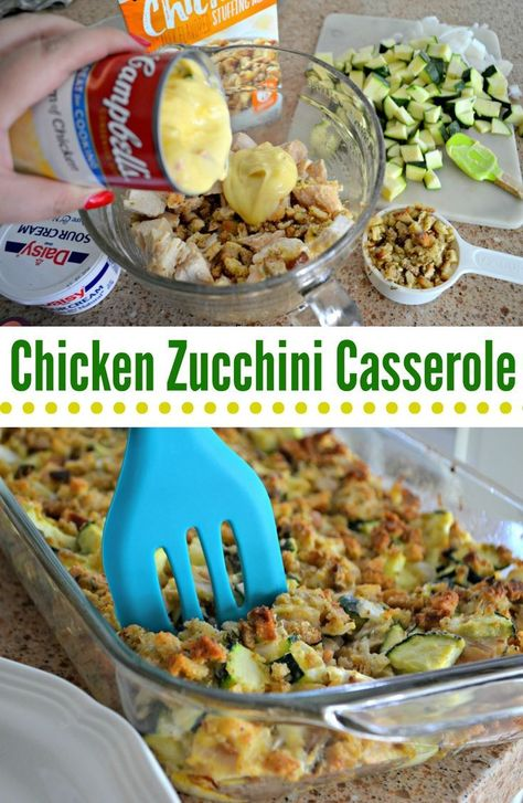 Chicken Zucchini Casserole Here's how to transform a boxed stuffing mix into a delicious casserole, featuring zucchini and chicken!Here's how to transform a boxed stuffing mix into a delicious casserole, featuring zucchini and chicken! Stuffing Recipes, Stuffing Mix, Chicken Zucchini Casserole, Chicken Stuffing Casserole, Zuchinni Recipes, Stuffed Zucchini Recipes, Healthy Zucchini, Cooking Recipes, Chicken