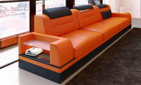 3 Seat Leather Sofa Orlando Led In 2020 Modern Leather Sofa Leather Sofa Contemporary Leather Sectional