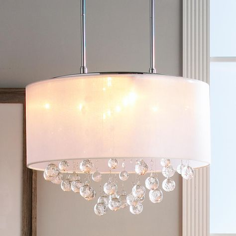 Sheer Shade Crystal Ball Chandelier Drum Shade Chandelier