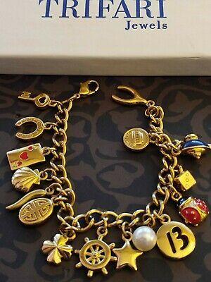 Vintage Purple Bead Charm Gold Tone Crown Beaded Costume Jewelry