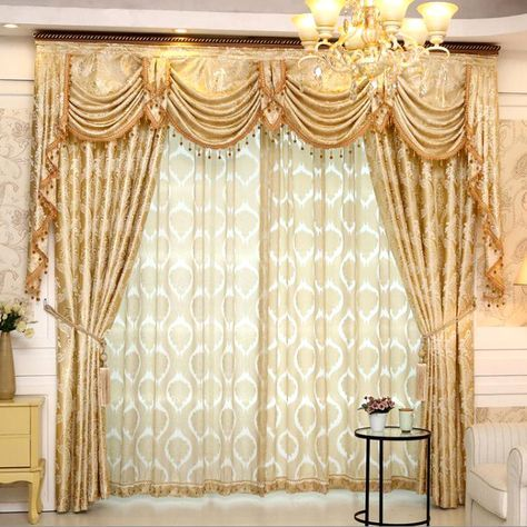 Gold Floral Jacquard Polyester Luxury Damask Curtains For Living Room Curtains Living Room Curtains Luxury Curtains