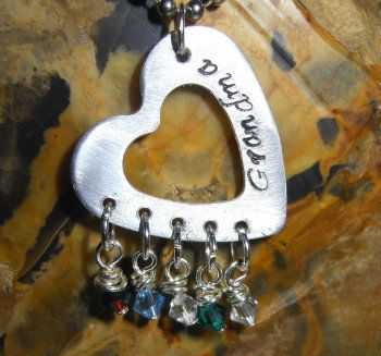 Personalized Necklace - Mother's Necklace - Personalized Jewelry - Heart Washer with Birthstones