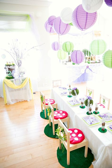 Dreamy Lavender Woodland Fairy Party: Party Area
