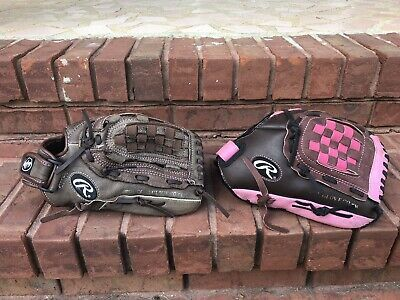 Advertisement Ebay Lot Of 2 Rawlings 12 Fast Pitch Softball Glove Lot Fp10dbp Pink R Hand Thrower In 2020 Softball Gloves Fastpitch Softball Hiking Boots