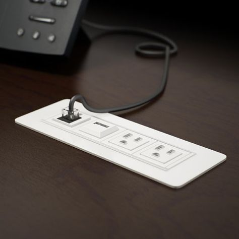 AXIL-Z Flush Mount PDC - this #power and #data center sits inside your #desk or #tabletop and features a flat, unobtrusive profile. It's patented #waterproof #outlet design allows for maximum spill protection.