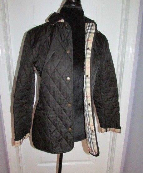 Women S Burberry Black Quilted Jacket Coat With Nova Check Lc 226 Small Black Quilted Jacket Quilted Jacket Jackets