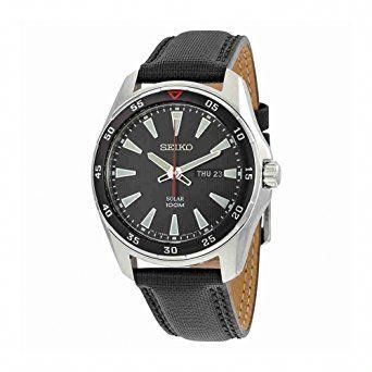 Strap Leather Seiko Band Dial Men's Black Core Sne399 R3j4Aq5L