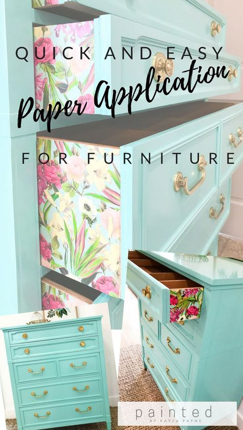 and Easy Paper Application For Furniture Super quick and easy way to attach paper to furniture! Step by step tutorial PLUS a how-to video!Super quick and easy way to attach paper to furniture! Step by step tutorial PLUS a how-to video! Paper Furniture, Furniture Projects, Furniture Making, Home Projects, Furniture Decor, Furniture Plans, Craft Projects, Furniture Assembly, Furniture Stores