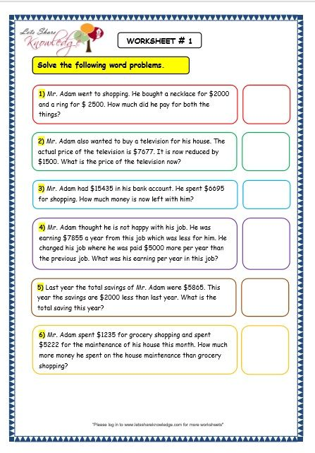 Worksheets On Addition Word Problems For Grade 2 Worksheets For