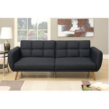 Nathaniel Ii Collection Black Linen Like Fabric Upholstered Futon Sofa Bed With Arms Measures X H When Laying Flat Some Embly Required
