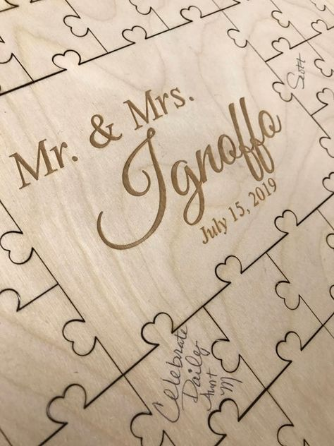 Wedding Guestbook Puzzle Wood with Heart Scalloped Edge | Etsy