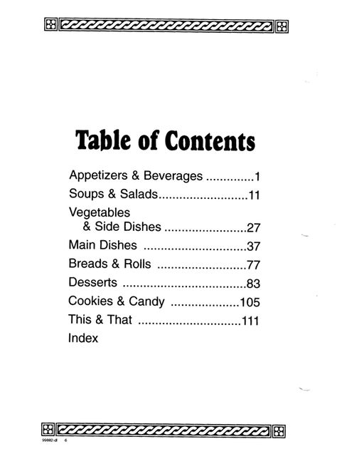Cookbook Sections Free Printable Table Contents Template Diy