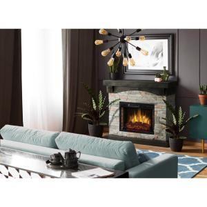 Muskoka Sable Mills 42 In W Faux Stone Mantel Electric Fireplace In Gray 234 159 76 In 2020 Stone Mantel Fireplace Surrounds Electric Fireplace Surround