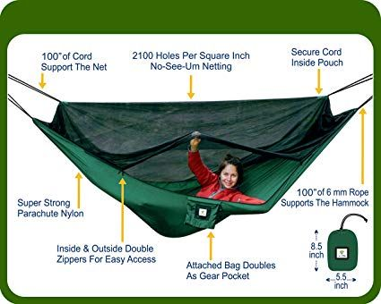 Hammock Bliss No See Um No More The Ultimate Bug Free Camping Hammock 100 250 Cm Rope Per Side Included Fully Rev Hammock Tent Hammock Camping Hammock