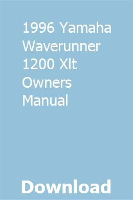 1996 Yamaha Waverunner 1200 Xlt Owners Manual With Images