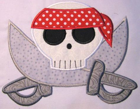 Pirate skull machine applique embroidery design pirate skull