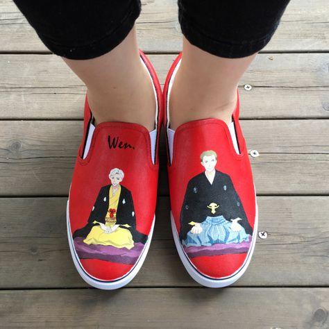 super popular 3f105 95706 Aliexpress.com  Wen Design Custom Hand Painted Shoes Animation Shouwa  Genroku Rakugo Shinjuu Red Slip on Canvas Sneakers for Man Woman Gifts from  Reliable ...