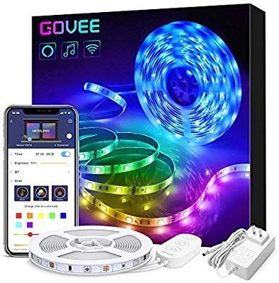 Govee Smart Wifi Led Strip Lights Works With Alexa Google Home Brighter 5050 Led 16 Million Colors Phone App Led Strip Lighting Strip Lighting Light Words
