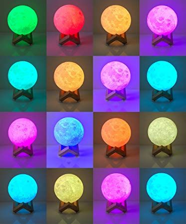 3d Printed 16 Color Led Moon Lamp With Stand Multicolor Rgb Remote Touch Control Decorative Moon Review Led Color Prints Presents For Kids