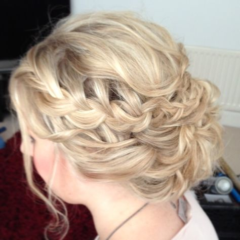 Wedding hair by Lisa Cameron Boho bridal hair Plaited updo plaits braid braids  braided hair up. Bohemian wedding hair ideas. Bridesmaid look. Blonde long hair up. Waves bridesmaids. North East hairdresser Newcastle www.lisacameron.co.uk