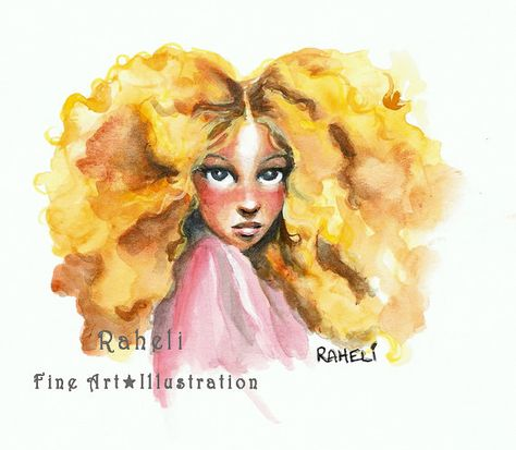 Goldilocks Watercolor Golden Curly Hair Fairytale Cute Bright