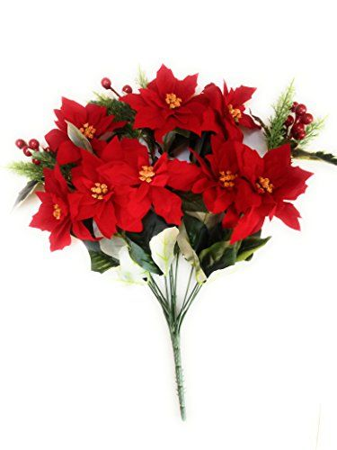 Mezly Red Poinsettias Bush Silk Wedding Decoration Flowers Artificial Arrangement Centerpiece Christmas 7 Heads Flower Bouquets 3 Heads Birries Wedding Flower Decorations Flower Bouquet Wedding Wedding Flowers
