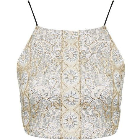 33ea1da87e TopShop Gold Beaded Embellished Bralet ( 40) ❤ liked on Polyvore featuring  tops