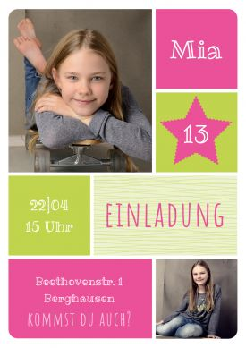 Frohliche Einladungskarte Mit Fotos Zum Geburtstag Fur Madchen