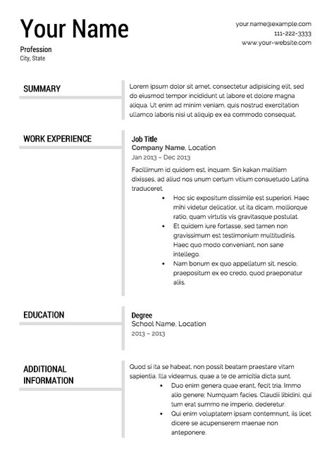 Modern resume template resume Pinterest Sample resume - mini bar attendant sample resume