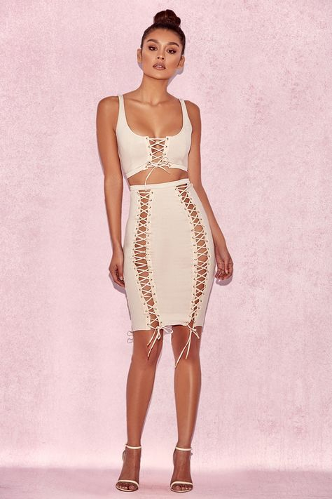d725dabad247 You'll be unforgettable in the Femme Laced Set The set features a bodycon,  sleeveless .