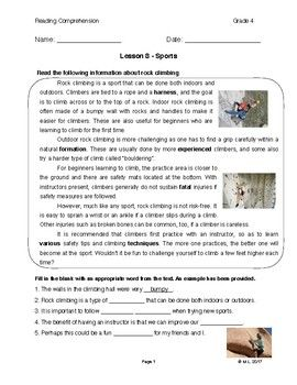 Reading G4 5 Lesson 8 Sports Reading Comprehension Speech