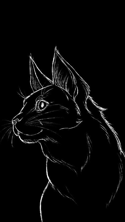 Cat Illustration Dark Black iPhone 12 4K Wallpapers Download ⋆ Traxzee