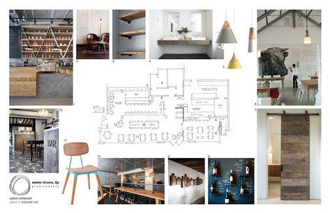 Mood board monday features the design process for salare restaurant. the industrial chic look is portrayed through the mood board.
