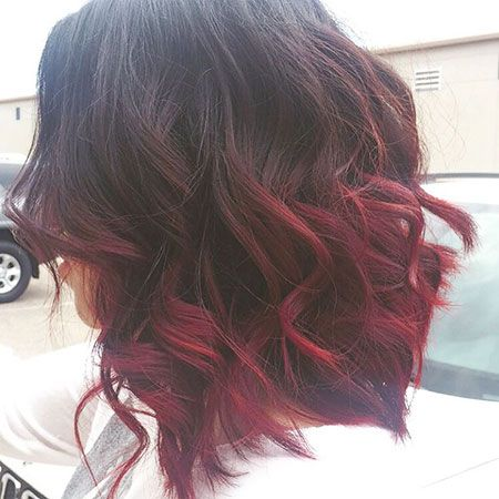 Balayage Red And Black Short Hair