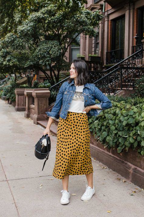 Spotted Skirt To Transition Into Fall With   an indigo day