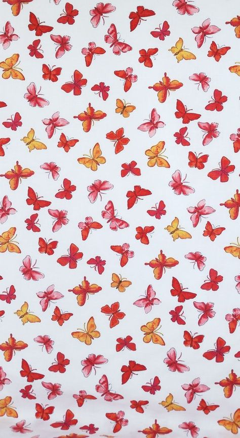 Cotton Fabric PINK BUTTERFLIES jules & coco fabric One Yard red orange pink butterflies on white Fun Fabric for Creative Genius Projects