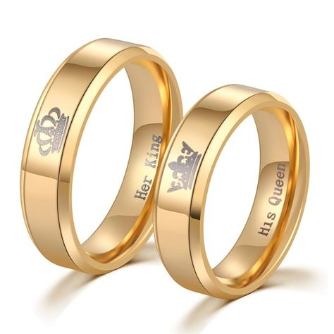 5a9b1635a03 Christmas Gifts For Women and Men - King and Queen Gold Couple Promise Rings