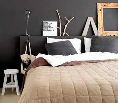 Chambre déco arty avec tête de lit et mur chocolat | Lit ...