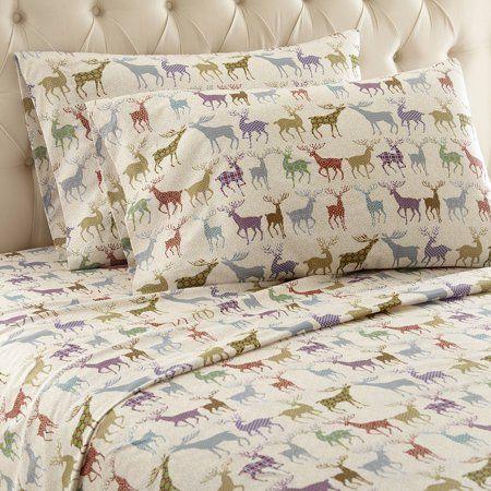 Micro Flannel Printed Color Sheet Set Cal King Colorful Deer Walmart Com King Sheet Sets California King Sheet Sets Sheet Sets Queen