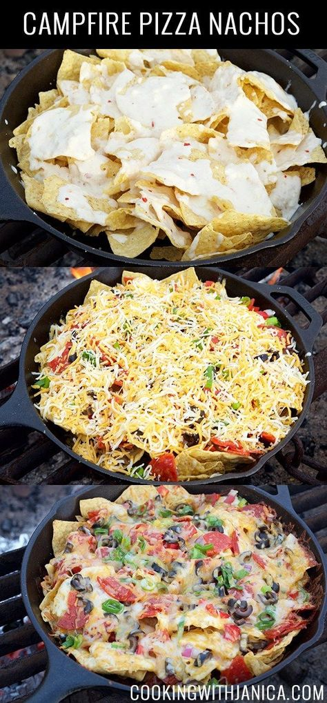 This Campfire Pizza Nachos recipe is a crowd pleaser every time we go camping. This Campfire Pizza Nachos recipe is a crowd pleaser every time we go camping. Kids & adults love it. Topped with queso, melted cheese, veggies, & pepperoni Pizza Nachos, Pizza Pizza, Dutch Oven Cooking, Cast Iron Cooking, Cooking Foil, Cooking Utensils, Campfire Pizza, Campfire Recipes, Campfire Desserts