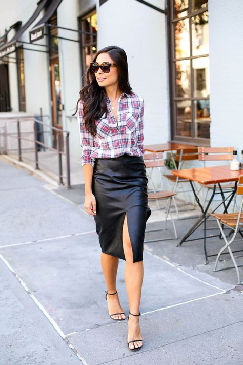 Combine two of fall's hottest trends. Pair plaid with a (faux) leather pencil skirt for girls' night.