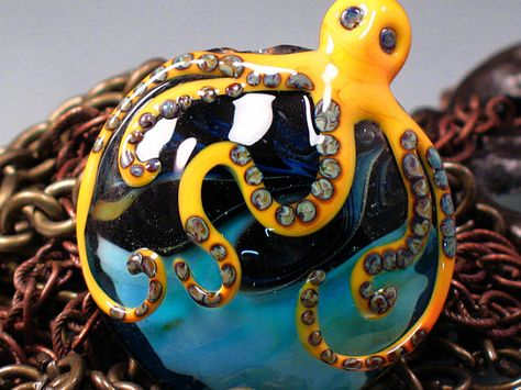 How COOL is this!!    Octopussy  Handmade Lampwork Octopus Focal Bead By by PaytonJett,