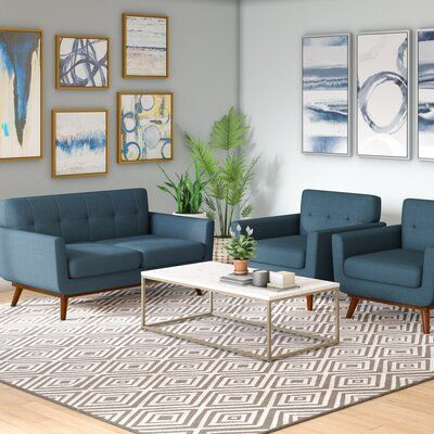 Corrigan Studio Saginaw 3 Piece Living Room Set Upholstery Color