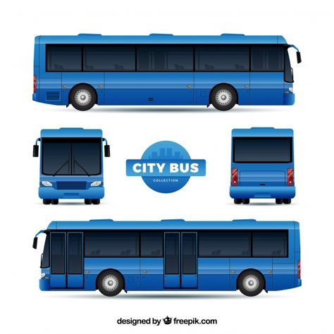 Download Bus Set With Different Perspectives For Free Freight