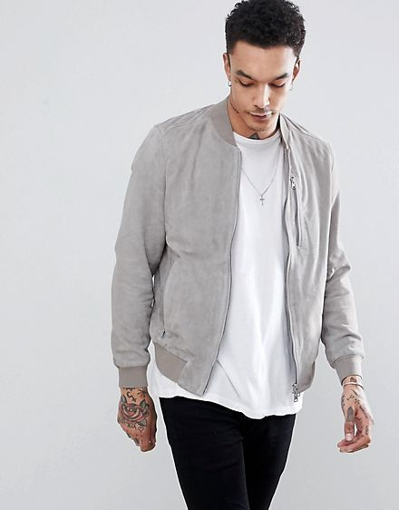 d029770b1ae AllSaints Bomber Jacket In Light Gray Suede | Fashion in 2019 | Grey ...
