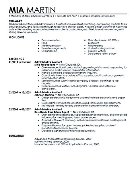 Server Resume Sample resume Pinterest Sample resume, Resume - resume samples for administrative assistant