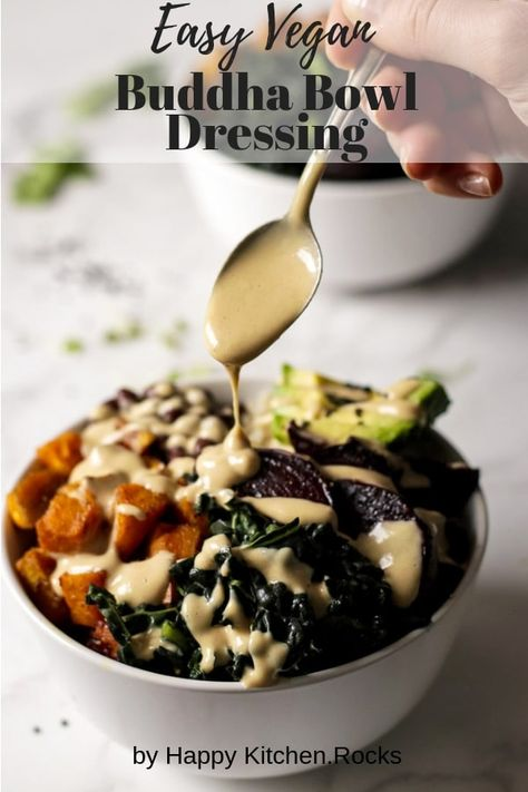 This vegan tahini dressing is the sauce you've been waiting for to drizzle over your vegan bowl to make it even more delicious. You can also use it on falafel, salads, or anything else you want a delightfully sweet and tart creamy vegan dressing for; this Buddha bowl dressing will make any plate more delicious. #tahini #dressing #veganrecipe #saladdressing #tahinidressing | happykitchen.rocks