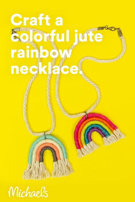 Be the talk of your friends and make this Jute-Wrapped Rainbow Necklace! Take this home décor trend piece and make a smaller version for a necklace!