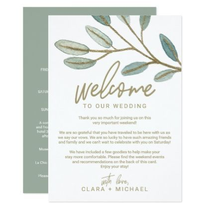 Gold Eucalyptus Wedding Welcome Letter  Itinerary Card  Elegant